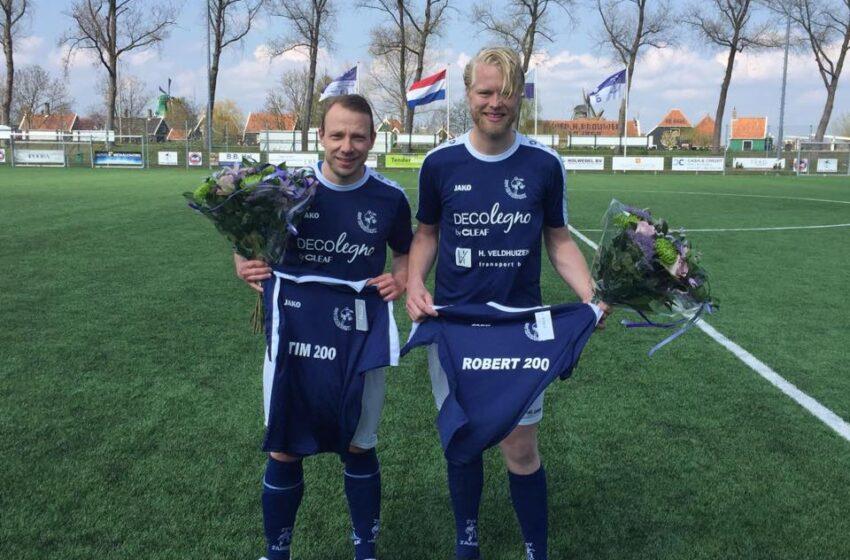 Robert Bos en Tim van der Laan 200 duels zvv Zaandijk