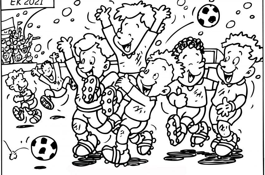 Zomer en EK voetbal als thema voor kleurplaat aktie.
